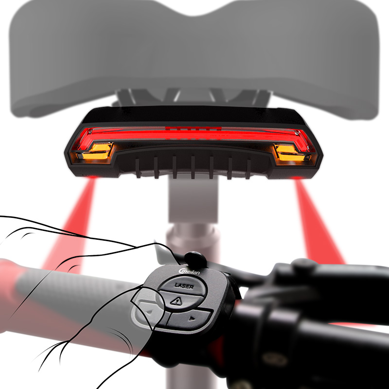 Rechargeable LED Bike Tail Light Bicycle Turn Signal w// Front Bar Remote Control