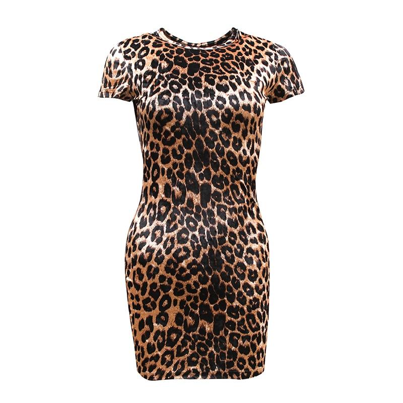 2019 Spring Very Sexy Leopard Dress Dazzle Velour Lanon Dress Slim High Rise Short Sleeve Pencil Dress