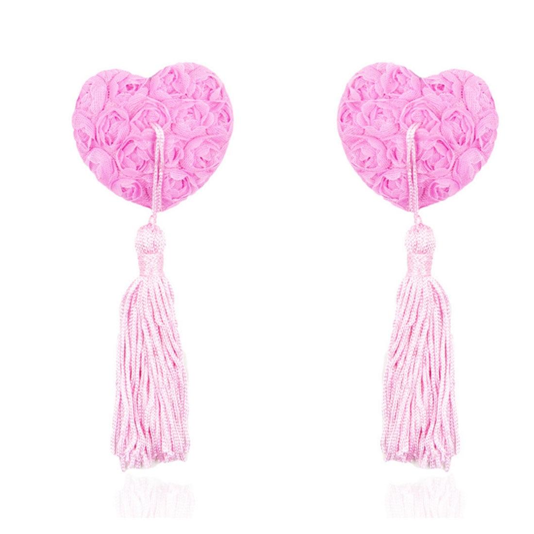 New 2pcs/set Self Adhesive Sequin Tassel Cover Fur Red Ribbon Rose Heart Shape Bra Nipple Cover Pasties Breast Petals