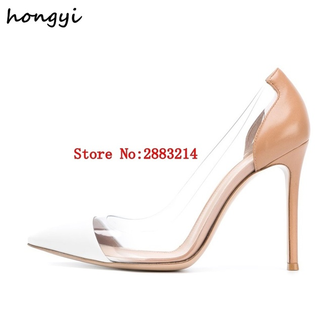 Nude Black White Patent Leather Transparent Pumps Clear PVC High Heels  Women Shoes Pointed Toe Stiletto-Heeled Party Shoes