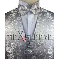 أحدث الأعلى تصميم الأزياء الفضة زهرة العرف سهرة سترة + ربطة