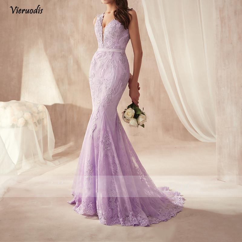 91-1             2019 Elegant Purple Lace Mermaid Prom Dresses Custom Floor Length Backless Evening Gowns Covered Buttons Plus Size Women Formal Dress