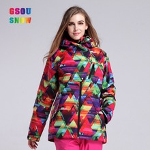 2016 Gsousnow new black outdoor direct selling red long teenage colorful ski jacket women ladies cheap breathable windproof