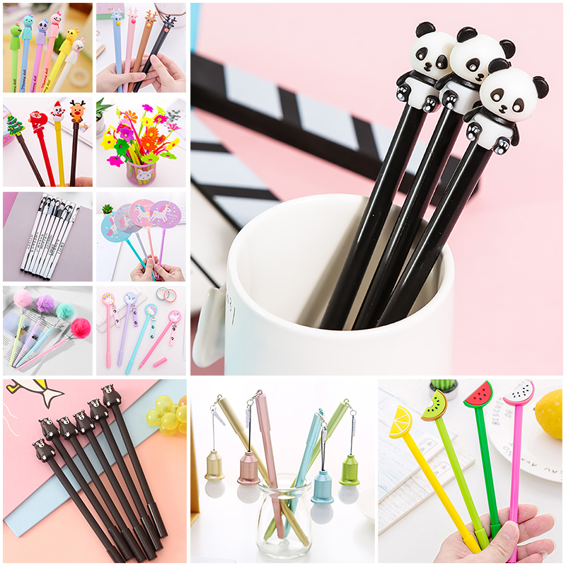 Creative Cute Panda Unicorn Gel Pen Kawaii Christmas Cartoon School Office Stitch Thing Anime Stationery Material Kids Cool Gift