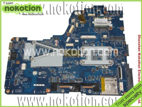 NOKOTION K000125700 LA-6831P laptop motherboard for Toshiba A665 HM65 VGA DDR3 Mainboard free shipping free shipping laptop motherboard without vga chipsets for c50 h000052660