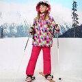 Зима Детская Одежда Устанавливает Открытый Водонепроницаемый Ветрозащитный Девушки Лыжная Куртка + Биб Брюки 2 шт. Девочек Лыжный Костюм для 5-15 Лет
