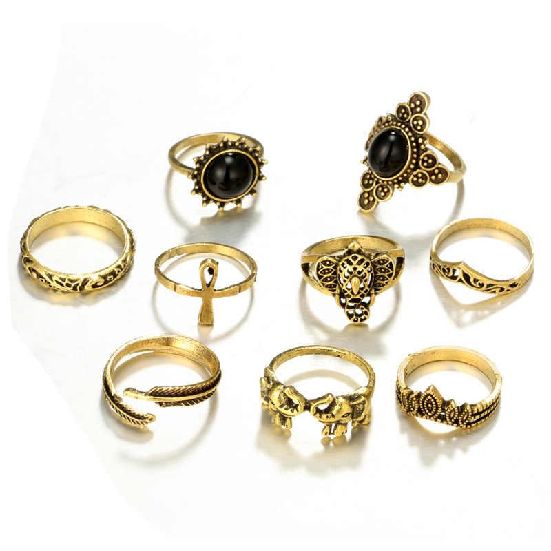 2018 Anel Jóias Bohemian Banhado A Ouro Antigo Praia Midi Knuckle Anéis Conjuntos Vendemos Mais Barato