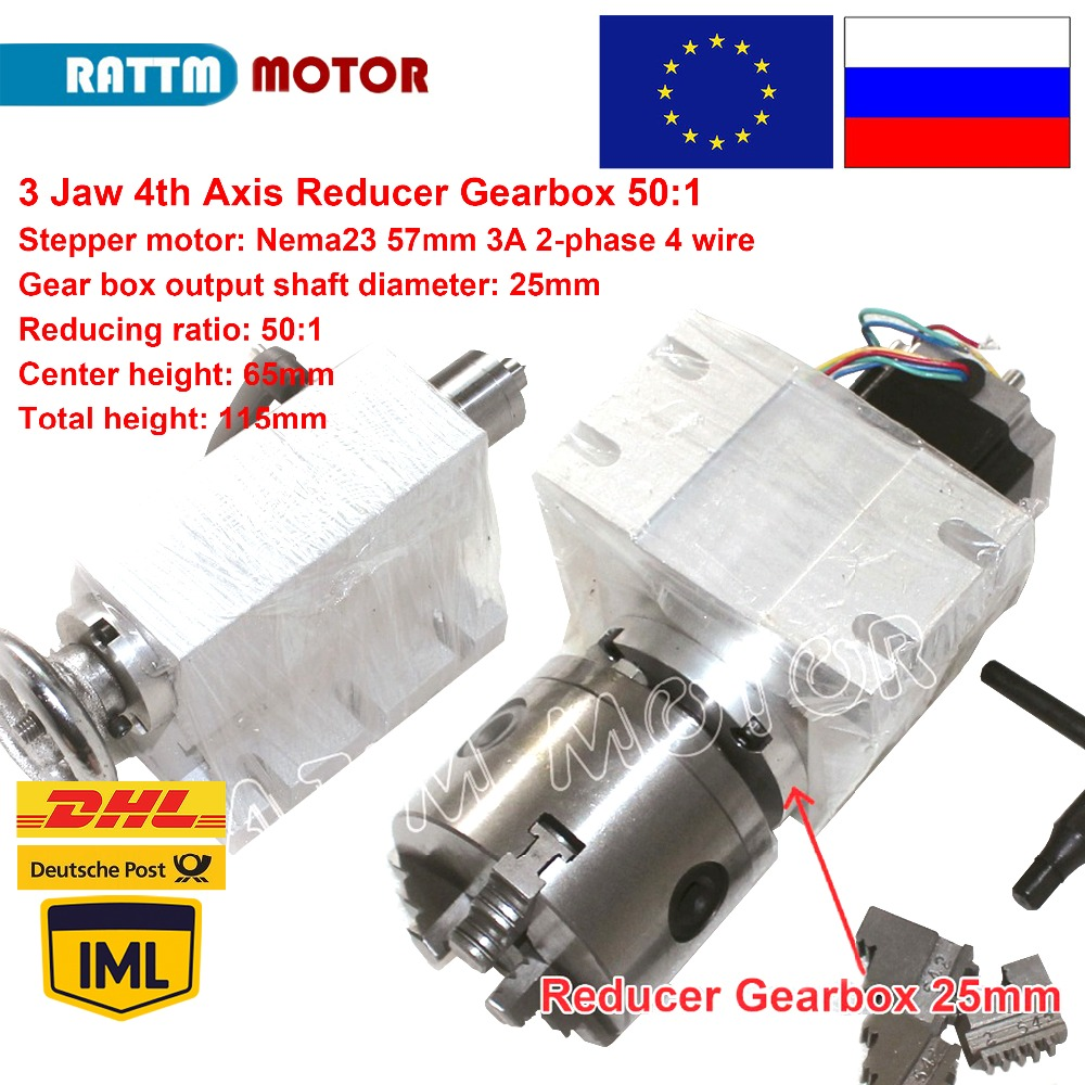 CNC Router Rotational Axis A axis 3-Jaw 100mm Chuck Gear Box 50:1 4th Axis