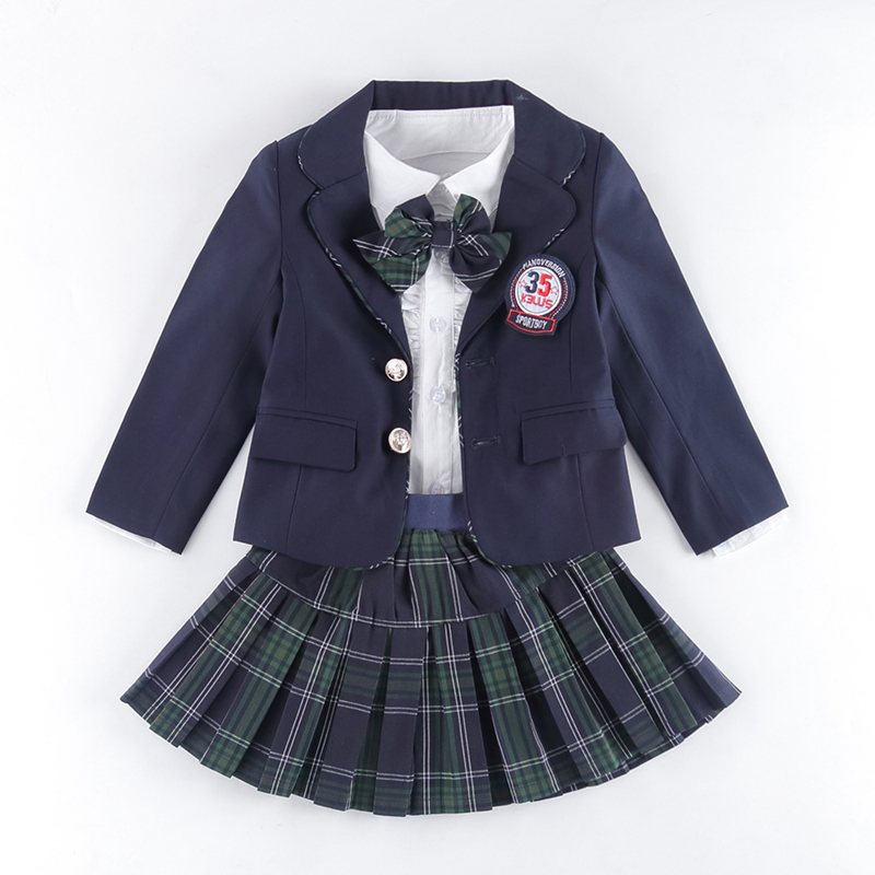 Children Uniform Cotton Fashion Student School Uniforms Girls Boys Cotton Shirt Dress Pants Jackets Skirt Tie Set Uniforms 3-12T