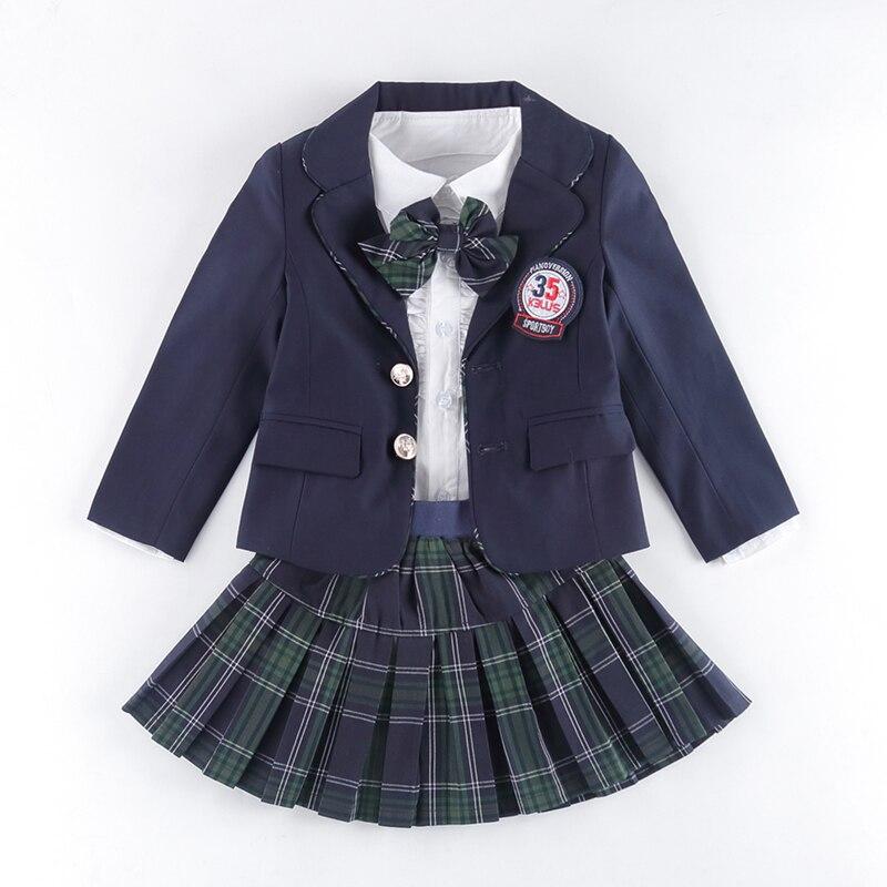 Enfants uniforme coton mode étudiant école uniformes filles garçons coton chemise robe pantalon vestes jupe cravate ensemble uniformes 3-12 T