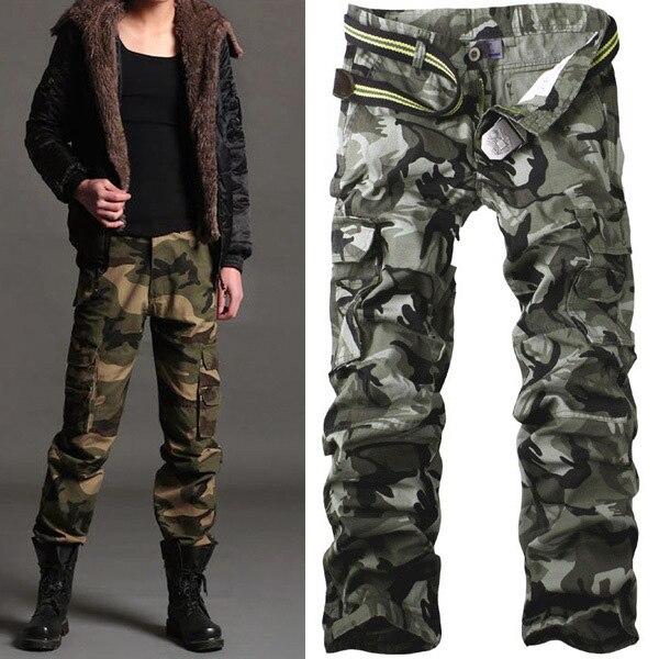 Men Pants Casual Cotton Military Army Cargo Pants Camo Pants Combat Work Pants Trousers R50 Asian