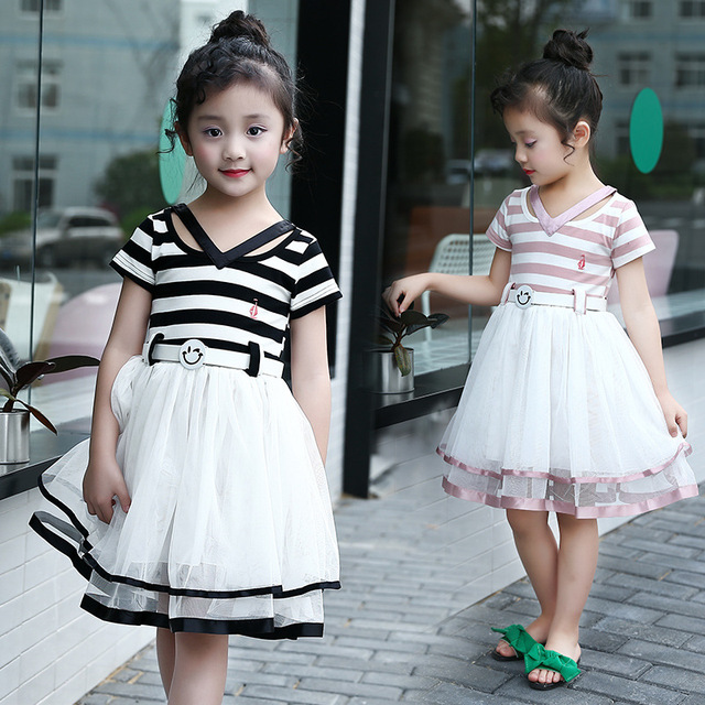 3731d521d con cuello las coreano en 13 rayas fresca corta años niñas 2018 para manga  niña de verano v 4 vestidos vestido moda ...