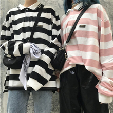 2019 Spring New ulzzang Harajuku bf polo shirt oversized tee-shirt top