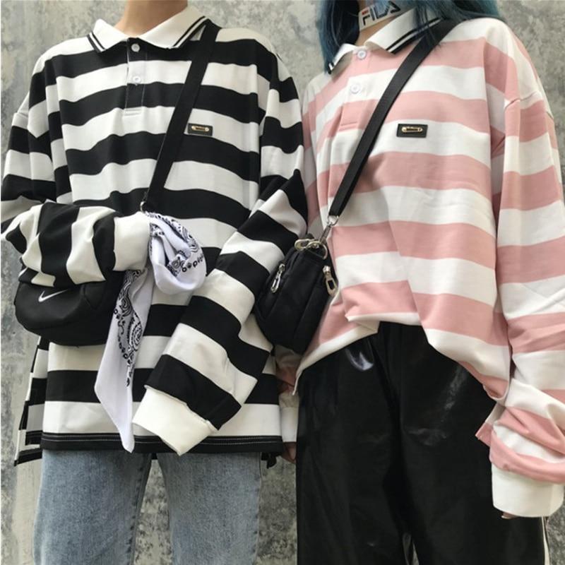 2019 Spring New Ulzzang Harajuku Bf Polo Shirt Oversized Tee-shirt Top Retro Striped Loose Long Sleeve Women's T-shirt