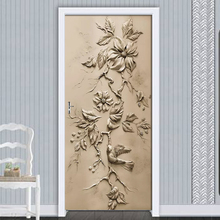 3D Embossed Magnolia Bird Modern Living Room Study Bedroom Door Decor Sticker Wall Paper Mural PVC Self-adhesive 3D Decal Poster modern 3d art effect football flame mural wall papers home decor 3d living room bedroom door sticker pvc self adhesive mural
