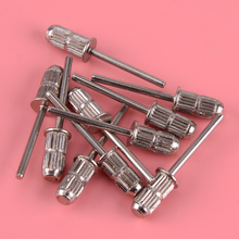 Yüksek kalite 10 adet gümüş Metal çubuk tırnak matkap ucu davul zımpara bantları Mandrel manikür pedikür aracı aksesuarları
