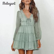 Melegantแขนยาว 2019 ชุดฤดูหนาวฤดูใบไม้ร่วงผู้หญิงสั้นRuffles Femme ElegantสีเขียวสุภาพสตรีชุดชีฟองVestidos