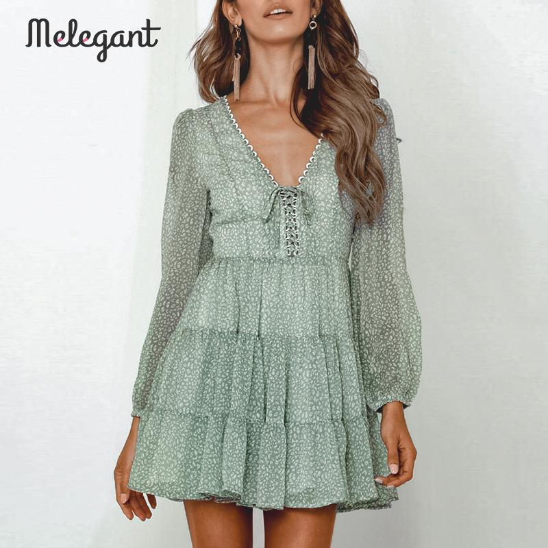 Melegant  Long Sleeve 2019 Autumn Winter Dress Women Short Party Ruffles Femme Elegant Green Ladies Chiffon Dress Vestidos