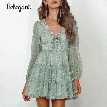 Melegant  Long Sleeve 2019 Autumn Winter Dress Women Short Party Ruffles Femme Elegant Green Ladies Chiffon Dress Vestidos - DISCOUNT ITEM  40% OFF All Category