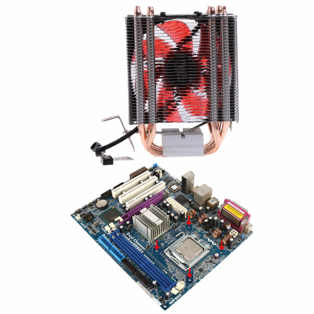 1PC Thermal Grease + 4 Heatpipe 130W Red CPU Cooler 3-Pin Fan Heatsink For Intel LGA2011 AMD AM2 754 new pc cpu cooling fan cooler heatsink for intel lga775 am2 am3 754 939 940 c77 dropship