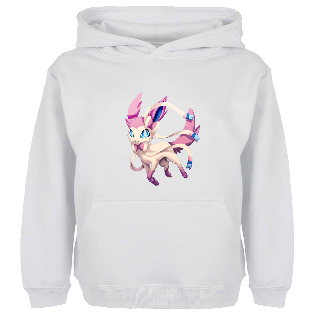 Classic Cartoon Pokemon Sylveon Design Casual Hoodie Men Women Boy Girl Off White Cotton Unisex Sweatshirts Winter Hoody Jackets