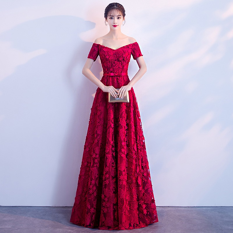 0801ea26d Rojo elegante de Noche Vestidos cuello Barco de la piso-longitud hombro de  encaje vestidos