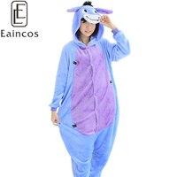 Adults Cartoon Animal Flannel Onesies Pijamas Cute Donkey Pajamas Sets Cosplay Party Costume Homewear Sleepwear For