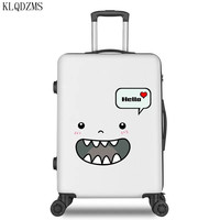 KLQDZMS 20/22/24/26inch ABS+ PC fashion cartoon pattern rolling luggage men women travel trolley suitcase with wheel