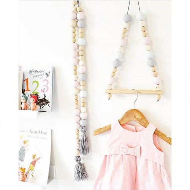 Nordic Style Wooden Clothes Kids Room Wall Hanger Pendant Home Decor Wardrobe Storage Holder