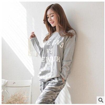 2016 новый осень зима костюм для женщин с длинным рукавом письмо печатные пижамы комплект хлопка пижамы женщин камуфляж pijamas Q0152