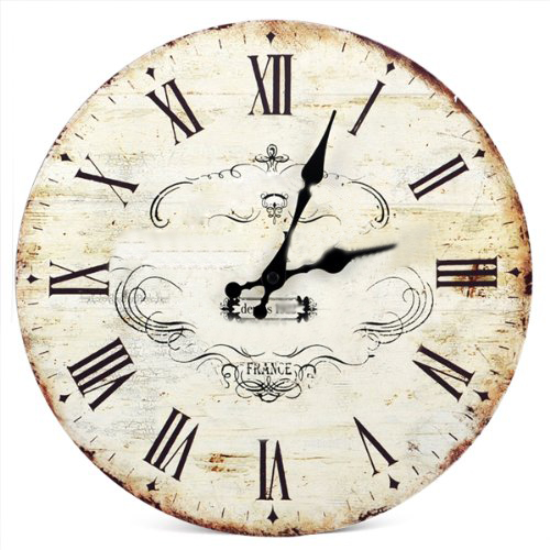 New SWT 13 Chic Vintage Retro Crown Pattern Wooden Wall Clock Art Home Dcor