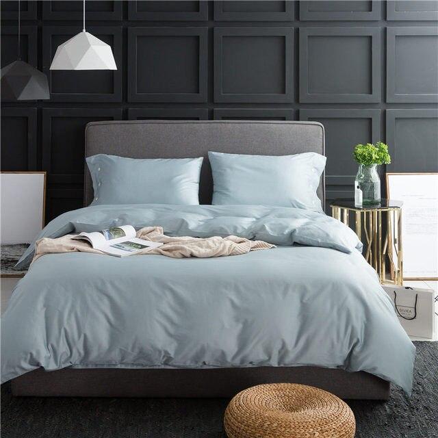 couvre lit duvet 2018 queen bedding set solid black color duvet cover 4pcs egyptian  couvre lit duvet