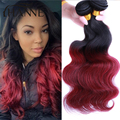 7A Ombre 1b 99j Hair Body Wave 3pcs/lot Black & Burgundy Brazilian Hair Two Tone Brazilian Virgin Hair Red Human Hair Extensions