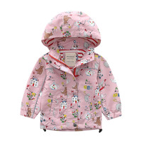 2 3 4 5 6 7 8 Years Kids Jacket Fashion Printed Girls Trench Coat with Hat Hoodies Windbreaker for Girls Toddler Baby Clothing