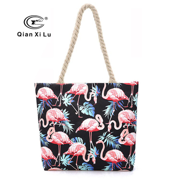 2018 Summer Canvas Bag for Women Fashion Flamingos Handbags Top Handle Handbags Fashion Casual Tote Bag Beach Bag Shopping Bags
