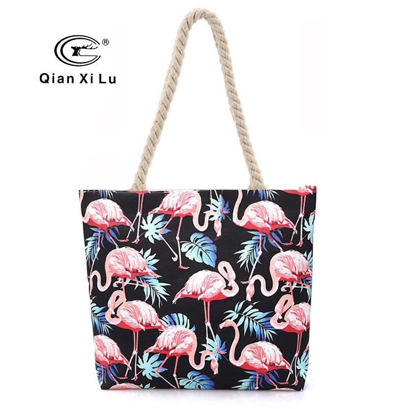 2018 Summer Canvas Bag for Women Fashion Flamingos Handbags Top Handle Handbags Fashion Casual Tote Bag Beach Bag Shopping Bags