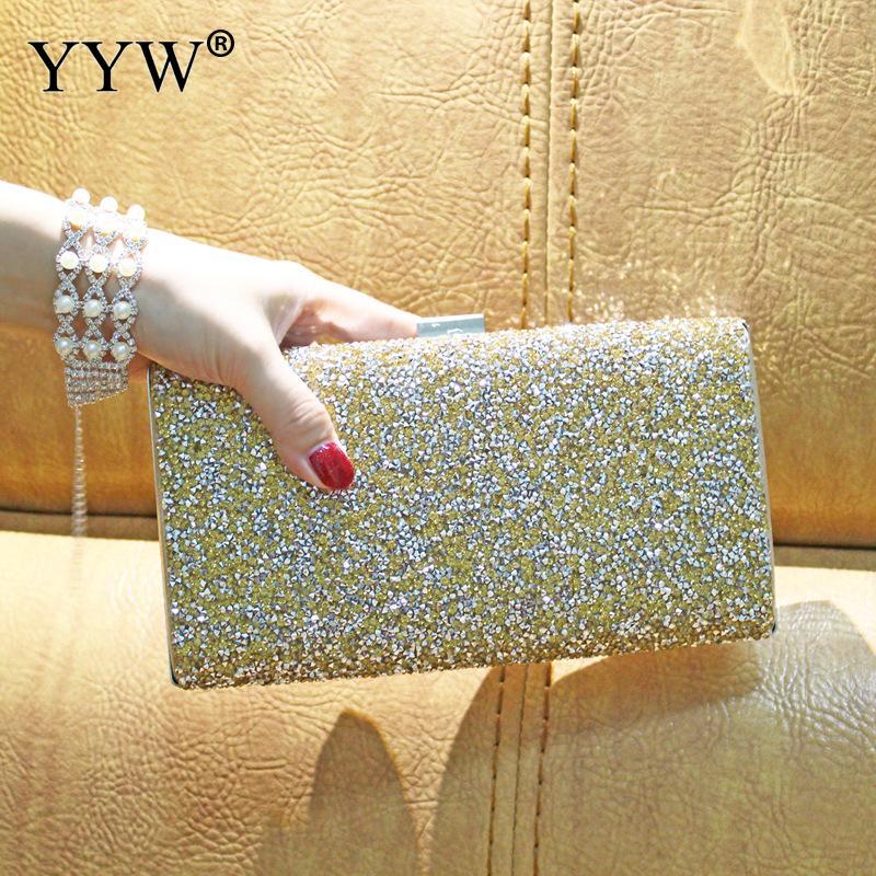 Damentaschen Frauen Abend Gold Kupplung Luxus Handtasche Diamant Strass Kristall Tag Glitter Geldbörse Hochzeit Partei Bankett Taschen Für Frauen 2019 2019 New Fashion Style Online
