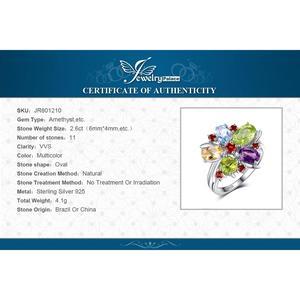 Image 5 - JPalac fleur améthyste naturelle Citrine grenat péridot bague topaze 925 en argent Sterling anneaux pour femmes argent 925 bijoux de pierres précieuses