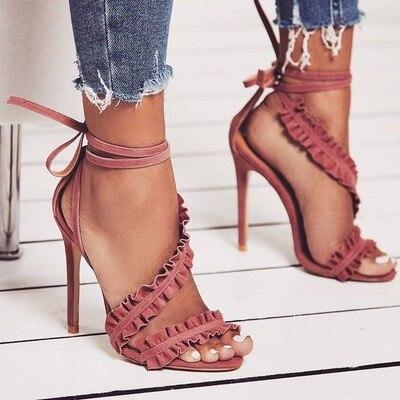Новейший стиль, Женские однотонные босоножки на шнуровке, летние модные модельные туфли на высоком тонком каблуке с рюшами и перекрестными
