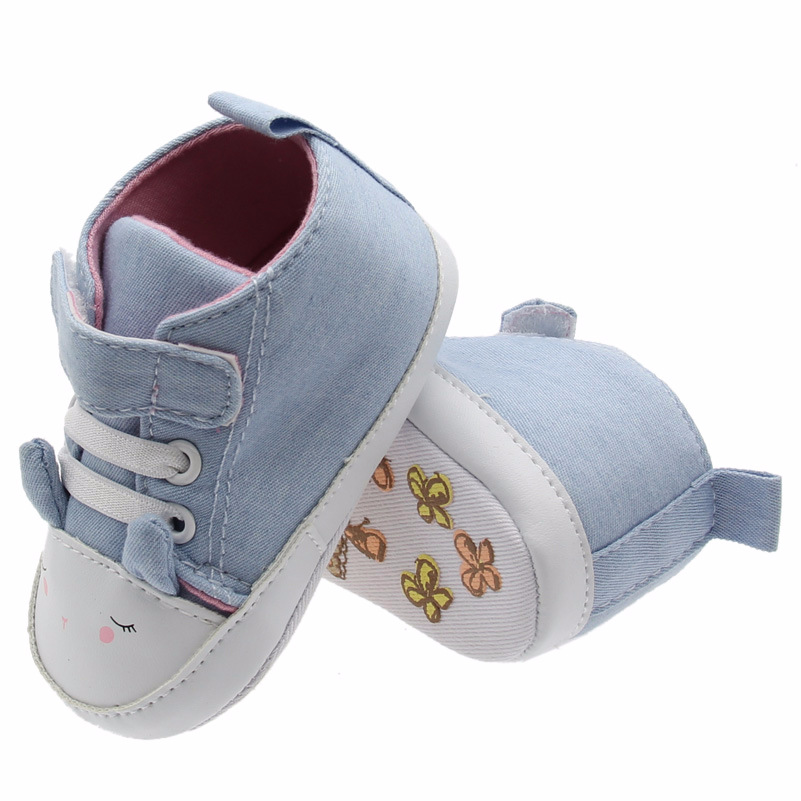 2018 Cartoon Light Blue Fashion Baby Boys Girls First Walkers Soft Sole Infant Toddler Shoes Sneakers