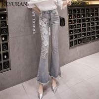 New Hot Sale Women Jeans High Waist Hole Denim Jeans Bodycon Pants Elastic Trousers Female Elegant Embroidery Ladies Flare Jeans