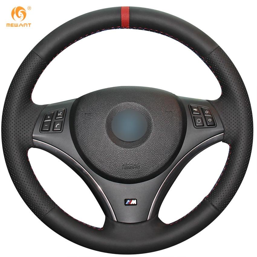 MEWANT Black Genuine Leather Car Steering Wheel Cover for BMW E90 325i 330i 335i E87 120i 130i 120d защитные аксессуары car pakistan bmw alpina