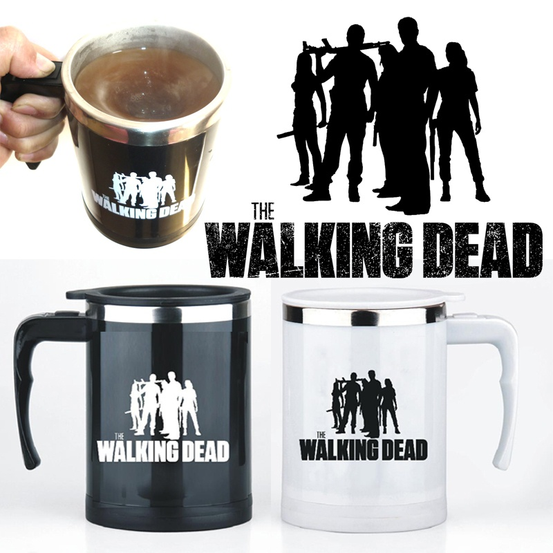 Drop shipping,the walking dead Self Stirring Coffee Mug Stainless Steel Electric mixer Automatic Coffee Mixing Drinking Cup gift