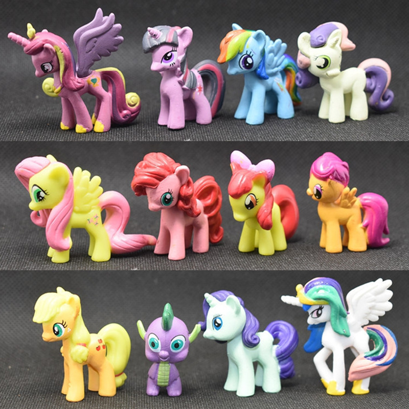 12PCS/Set Pony Toys Horse Unicorn In Action Figure 4-5CM Colorful Different Styles Doll Kids Toy Model PVC Doll For Girls Gift 14cm pony toys horse unicorn pet in action figure colorful different styles doll kids toy model pvc doll for girls gift