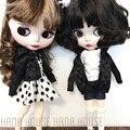 1 шт., Одежда для кукол Blyth, черное пальто с длинным рукавом/юбка в горошек для сумки на цепочке, аксессуары для кукол (подходит для кукол Blyth, ...