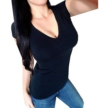 Womens T-shirt Summer Tee Basic T Shirt Women Solid V Neck Short Sleeve Casual Tops Slim Femme 2019 New