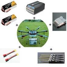 Enam-sumbu 10 KG perlindungan Pertanian Drone dengan baterai, power charger piring, XT90 plug, obeng dan alarm