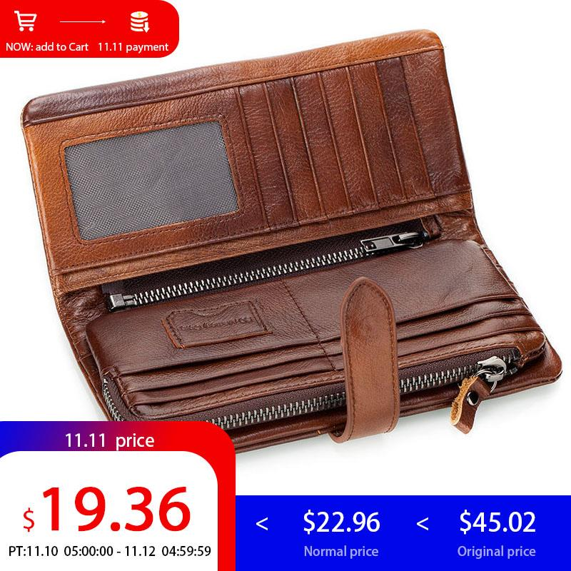 CONTACT'S Brown Genuine leather Men Wallet Men Purse Long Wallet Male Clutch Bag Coin Purse Zipper Credit Card Holder Phone Bag c pe030 promotions 100g chinese yunnan pu er tea cooked tea pu er tea rose flavor tea slimming health green food