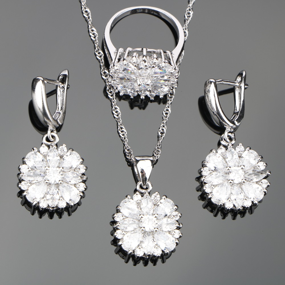White Zirconia Silver 925 Costume Jewelry Sets Wedding Women Set of Earrings Rings Necklace Pendant Stones Jewelery Gift Box