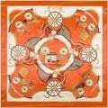 Las mujeres de Imitación de seda Bufandas Echarpe Tendencias 2016 Bufanda 90 Bufanda Femme Patrón Carro de Caballo de Moda Corbata Pañuelo Para El Cuello